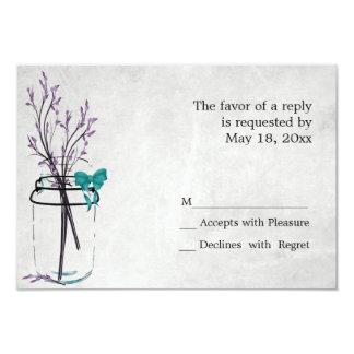 Tarro de albañil con las ramas púrpuras - tarjetas invitación 8,9 x 12,7 cm