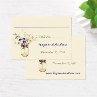 Tarro de albañil de la flor salvaje del cobre y de tarjeta de negocios
