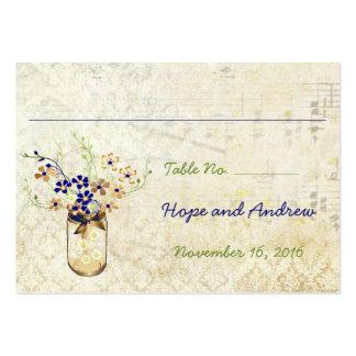 Tarro de albañil de la flor salvaje del cobre y de tarjetas personales