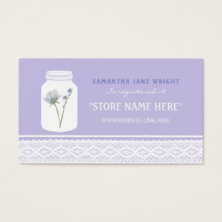 Tarro de albañil de la flor salvaje y registro de tarjeta de negocios