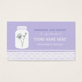 Tarro de albañil de la flor salvaje y registro de tarjeta de visita
