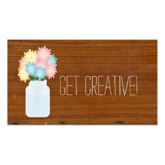 Tarro de albañil de madera texturizado inspirado tarjetas de visita