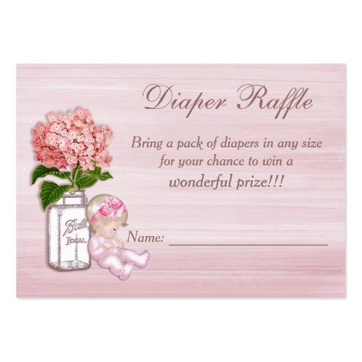 Tarro de albañil, niña, rifa rosada del pañal del  tarjeta personal