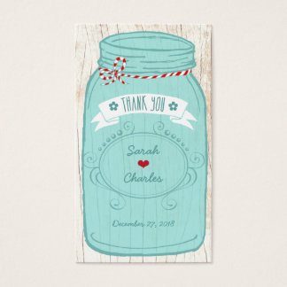 Tarro de albañil rústico en el boda ilustrado tarjeta de negocios