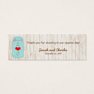 Tarro de albañil rústico en el boda ilustrado tarjeta de visita pequeña