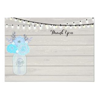 Tarro de albañil rústico ShowerThank nupcial azul Invitación 12,7 X 17,8 Cm