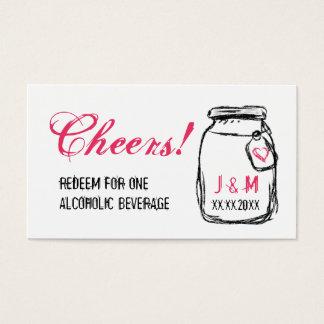 Tarro de albañil y boleto rosado de la bebida del tarjeta de negocios