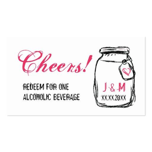 Tarro de albañil y boleto rosado de la bebida del  tarjetas de visita