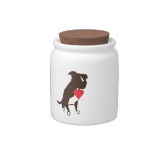 Tarro de la invitación del perro jarras para caramelos