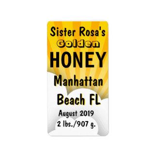 Tarro de la miel del chaparrón personalizado etiquetas de dirección