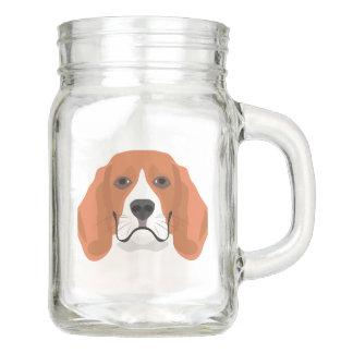 Tarro El ilustracion persigue el beagle de la cara
