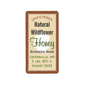 Tarro natural sin filtro de la miel del WIldflower Etiquetas De Dirección