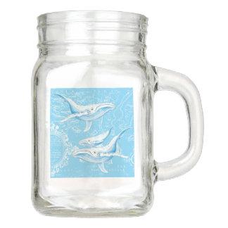 Tarro Vintage de la familia de las ballenas azules