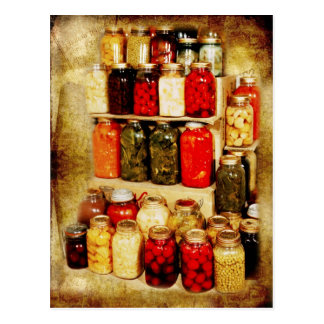 Tarros de comida hogar-conservada postal