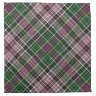 Tartán negro púrpura verde servilletas de papel