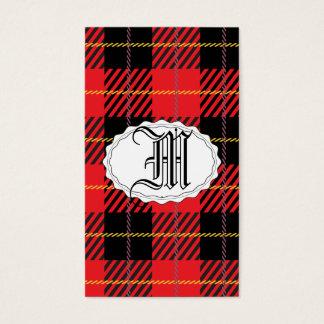 Tartán negro y rojo tarjeta de negocios