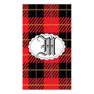 Tartán negro y rojo plantilla de tarjeta personal