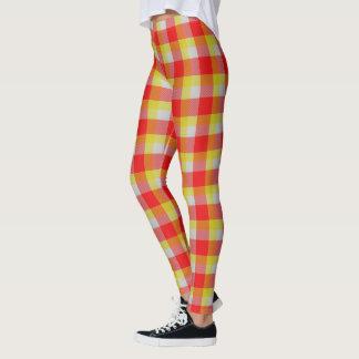 Tartán rojo y blanco del amarillo escocés de la leggings