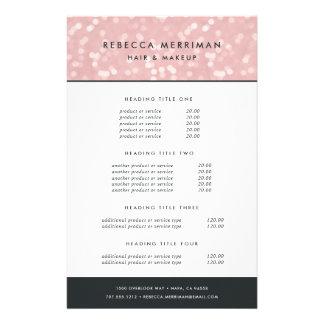 Tasación y servicios rosados de Champán Bokeh Folleto 14 X 21,6 Cm