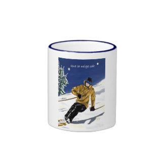 Tasse del neige soit/Skieur del la de Que grande Taza De Dos Colores