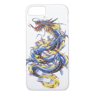 Tatttoo azul japonés oriental fresco del dragón funda iPhone 7
