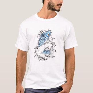 Tatuaje azul japonés oriental fresco de los camiseta