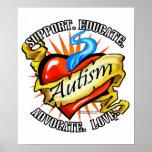 Tatuaje clásico del corazón del autismo impresiones