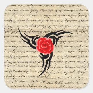 Tatuaje color de rosa pegatina cuadrada