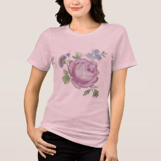 Tatuaje color de rosa púrpura del vintage camiseta