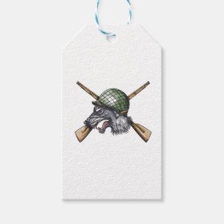 Tatuaje cruzado casco de los rifles del lobo gris etiquetas para regalos