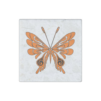 Tatuaje de la mariposa de la llama imán de piedra