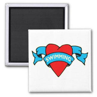 Tatuaje de la natación del corazón I Iman De Nevera