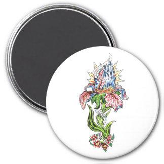Tatuaje de rogación fresco de la flor de las manos imán redondo 7 cm