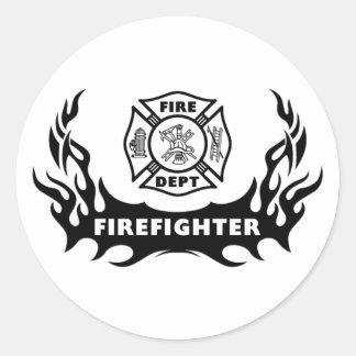 Tatuaje del bombero pegatina redonda