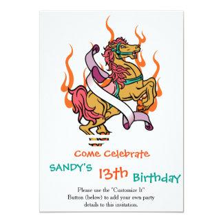 tatuaje del caballo loco en las llamas anaranjadas invitación 12,7 x 17,8 cm