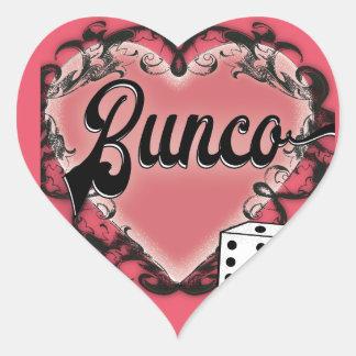 tatuaje del corazón del bunco pegatina en forma de corazón