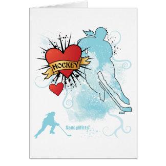 Tatuaje del corazón del hockey de las señoras tarjeta