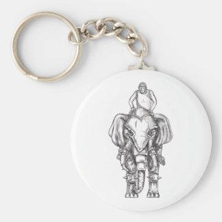 Tatuaje del jinete del Mahout del elefante de la Llavero