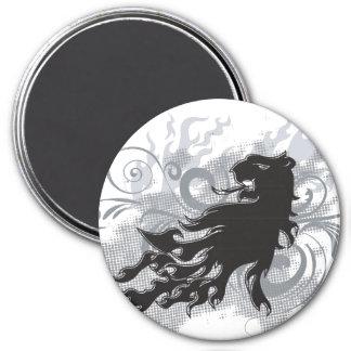 Tatuaje del león imán de frigorífico