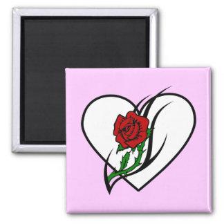 Tatuaje del rosa rojo iman para frigorífico