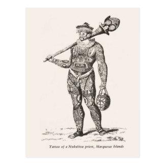 Tatuaje del sacerdote, islas de Marqueses Tarjeta Postal