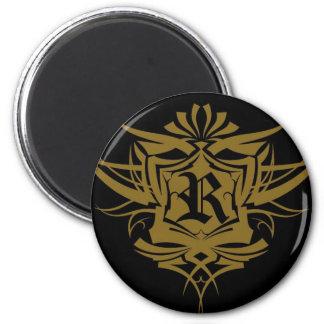 Tatuaje gótico del oro de R Imán Para Frigorifico