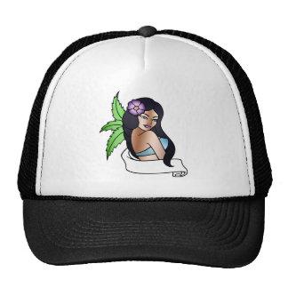 tatuaje hawaiano del chica gorras