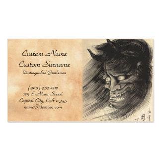 Tatuaje japonés de la cabeza del demonio del vinta plantillas de tarjeta de negocio