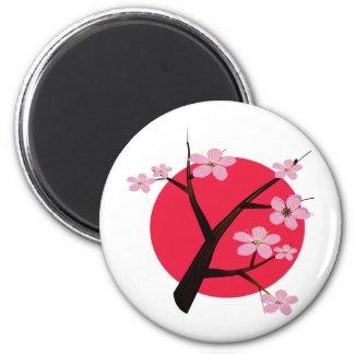 Tatuaje japonés de la flor de cerezo imán para frigorífico