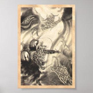 Tatuaje japonés del dragón del demonio del vintage póster