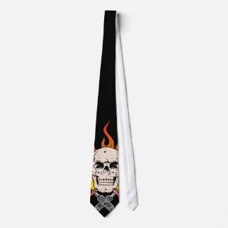Tatuaje llameante del cráneo 318 corbatas personalizadas