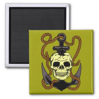 Tatuaje marino del cráneo imanes para frigoríficos