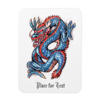 Tatuaje oriental azul fresco del dragón imanes flexibles