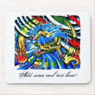 Tatuaje oriental fresco del dragón alfombrilla de ratón